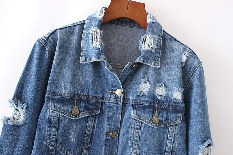 Aesthetic Vintage Clothing: Long Sleeve Vintage Jeans Tumblr Aesthetic Jacket