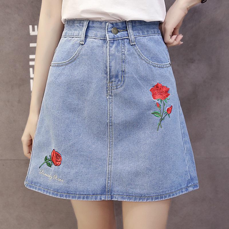 bb1017a146e1 Cotton Denim Tumblr Aesthetic Rose Skirts