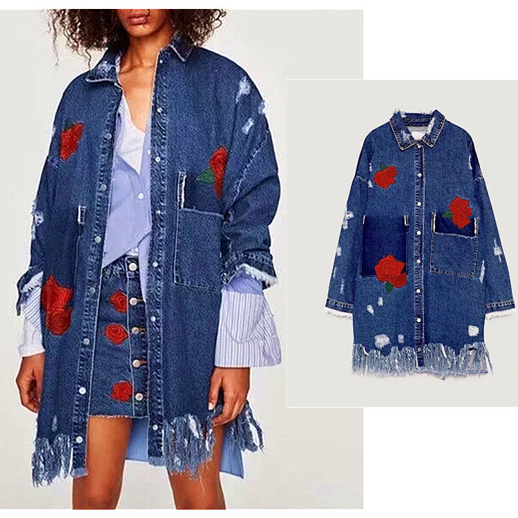 a5abbc0a0071 Women Floral Rose Long Sleeve Tumblr Aesthetic Jackets